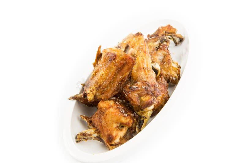 Saison cuite à la friteuse de poulet avec le sel gemme image stock