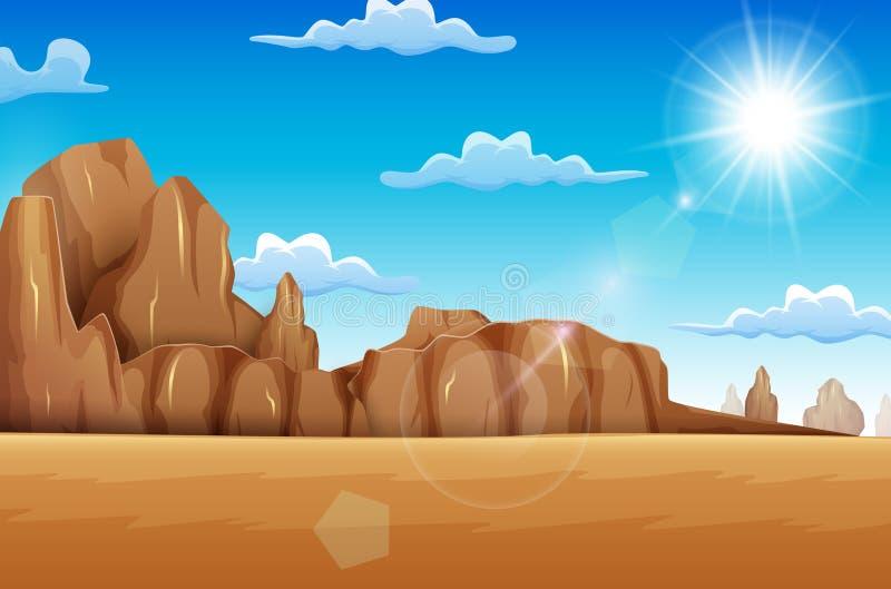 Saison d'été dans le désert de la savane illustration stock