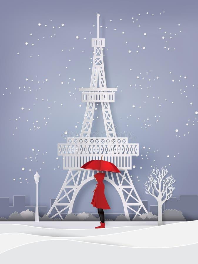 Saison d'hiver avec le parapluie rouge ouvert de fille illustration stock