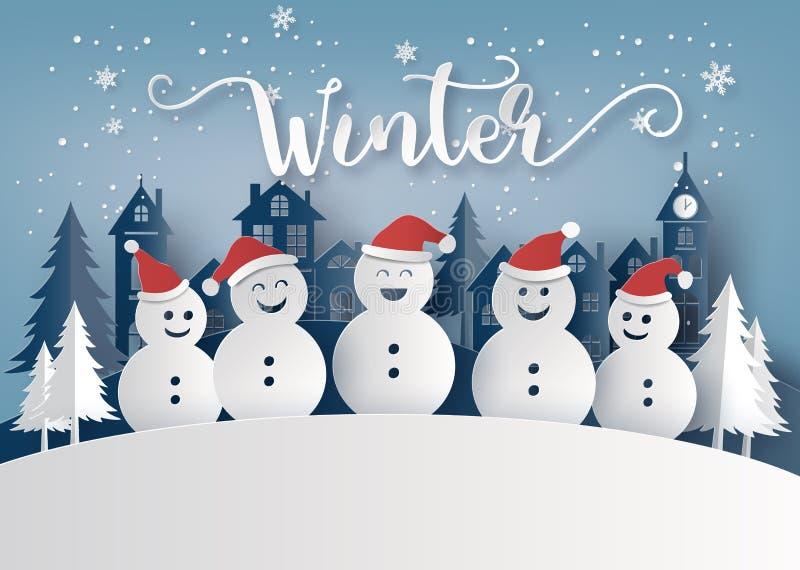 Saison d'hiver et Joyeux Noël avec l'homme de neige illustration de vecteur
