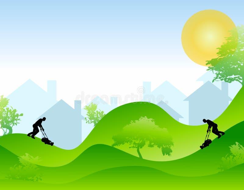 Saison de fauchage de pelouse illustration libre de droits