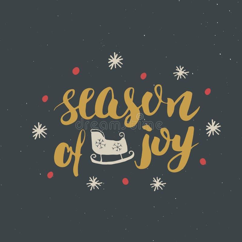 Saison de inscription calligraphique de Joyeux Noël de joie Conception typographique de salutations Lettrage de calligraphie pour illustration stock