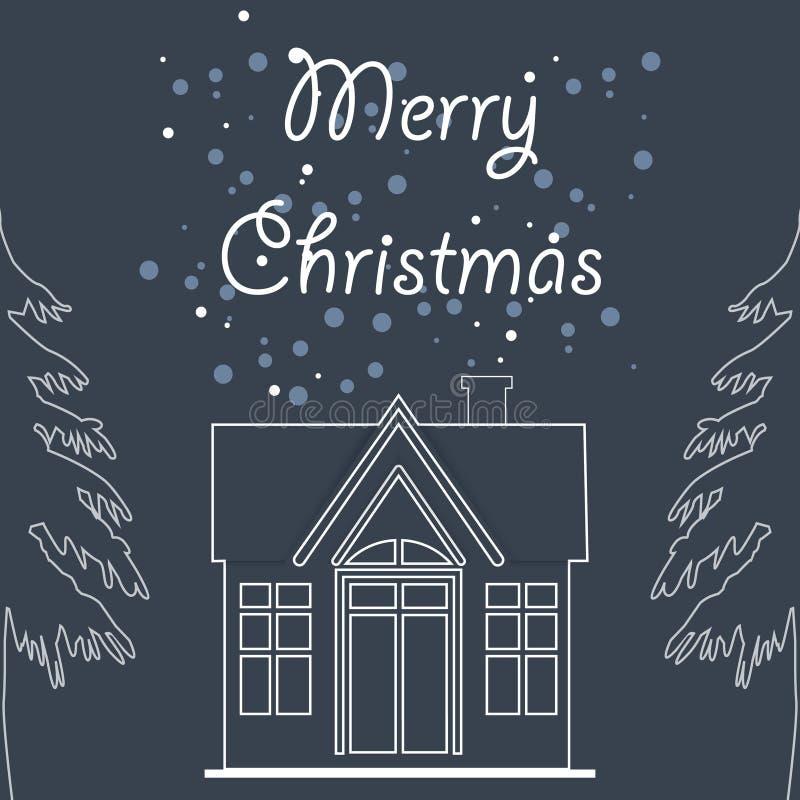 Saison de Joyeux Noël avec l'illustration de maison et de pin sur d illustration de vecteur