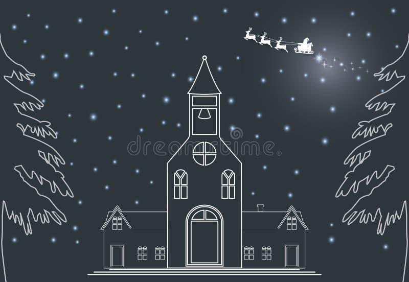 Saison de Joyeux Noël, Santa avec la maison et l'illustration de neige illustration libre de droits