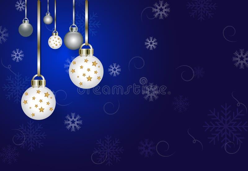 Saison de Noël avec le fond bleu de décoration de boule illustration stock