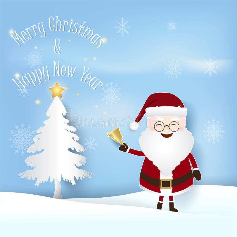 Saison de Noël avec Santa et pin avec l'étoile rougeoyante illustration stock