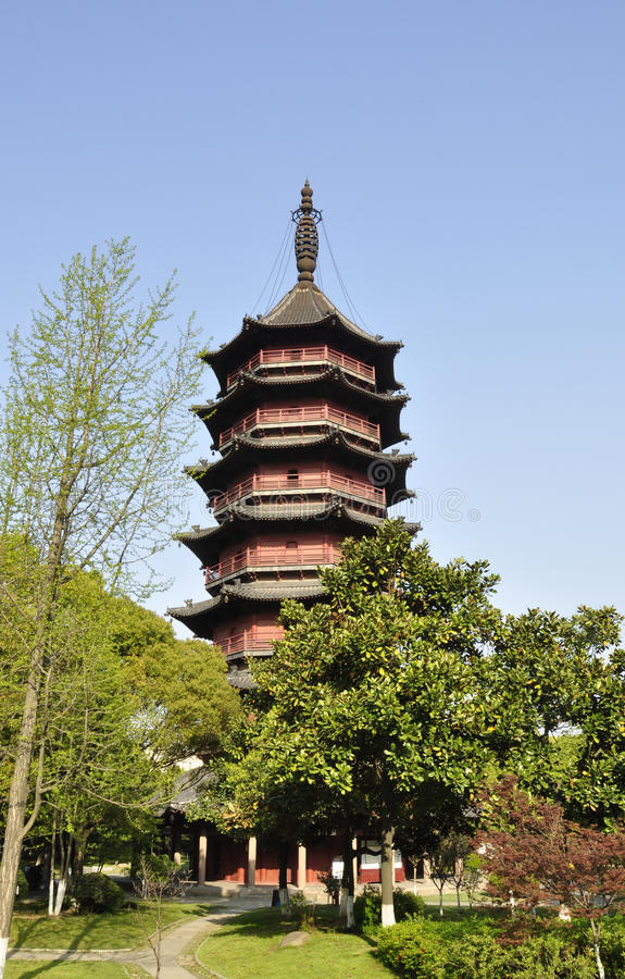 Saison de pagoda de Feiying au printemps images libres de droits