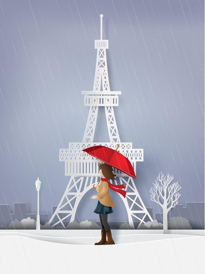 Saison des pluies avec le rouge ouvert de fille un parapluie illustration libre de droits