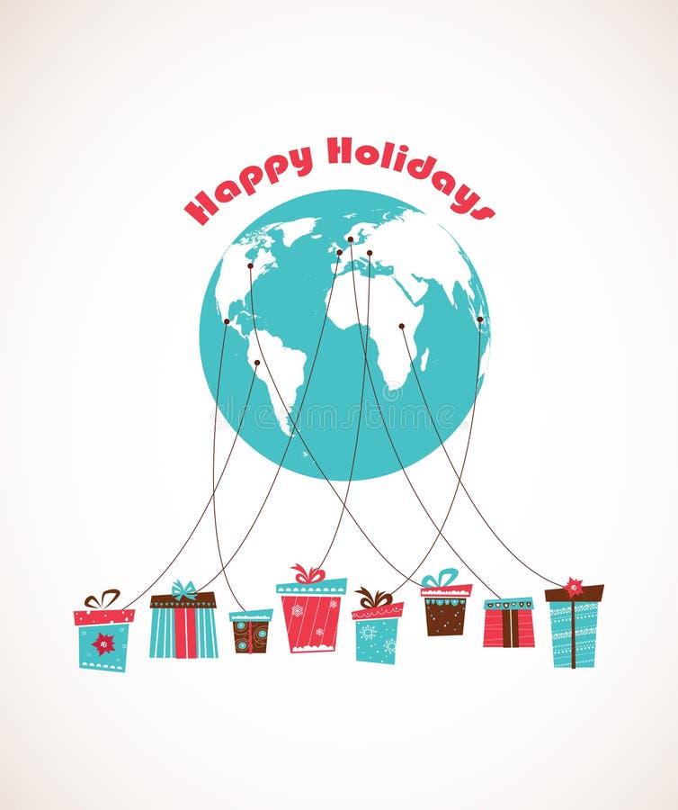 Saison des vacances globale la livraison mondiale de cadeau illustration stock
