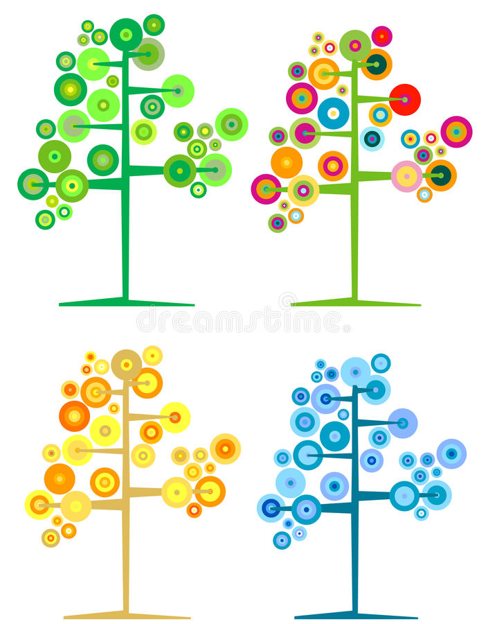 Saisonbäume lizenzfreie abbildung
