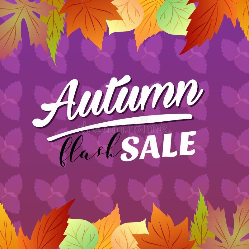 Saisonblätter grelle des Verkaufs des Herbstes klare Farb lizenzfreie abbildung