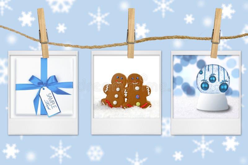 Saisonfeiertags-Bilder, die von einem Seil hängen stockbilder