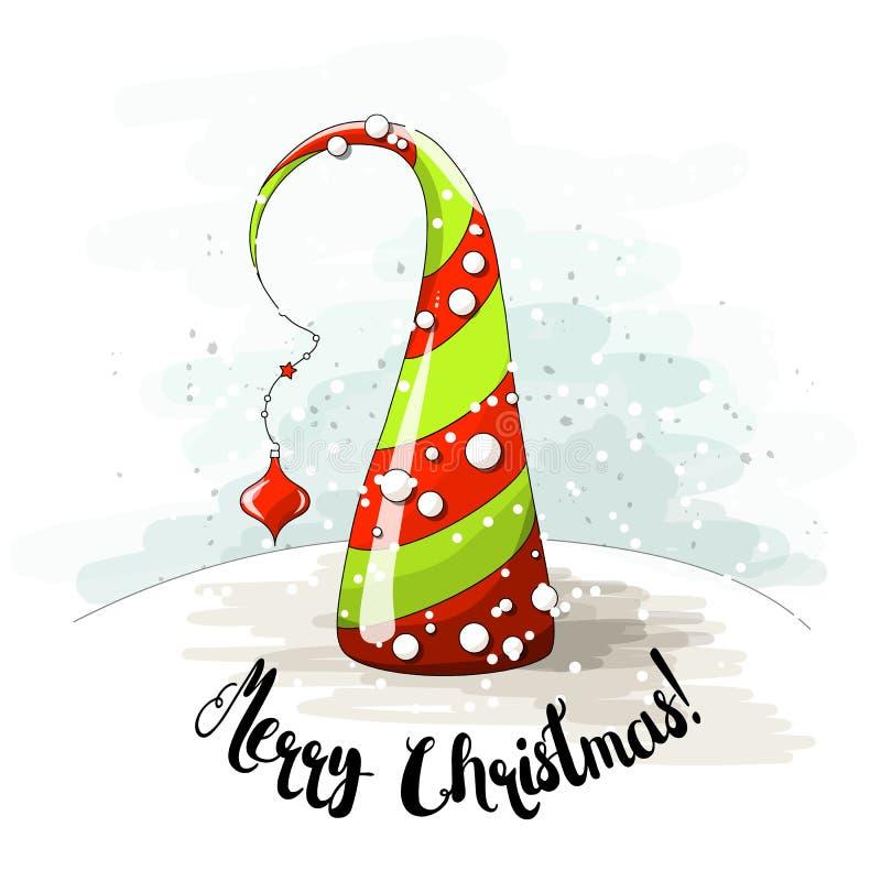 Saisonmotiv, abstrakter Weihnachtsbaum mit Perlen und Text ließen es schneien, vector Illustration lizenzfreie abbildung