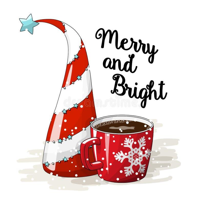 Saisonmotiv, abstrakter Weihnachtsbaum roter Tasse Kaffee und Text fröhlich und hell, Vektorillustration stock abbildung