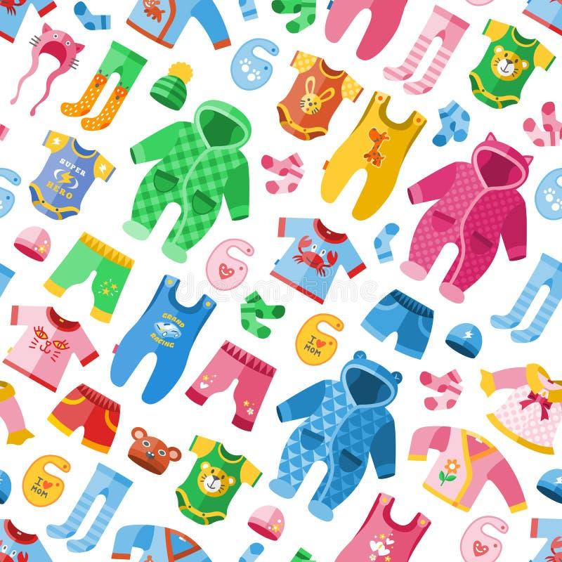 Saisonsäuglingskleidung für infantilen infantilen Stoff der Kinderkindischen Mode vector nahtlosen Musterhintergrund der Illustra lizenzfreie abbildung
