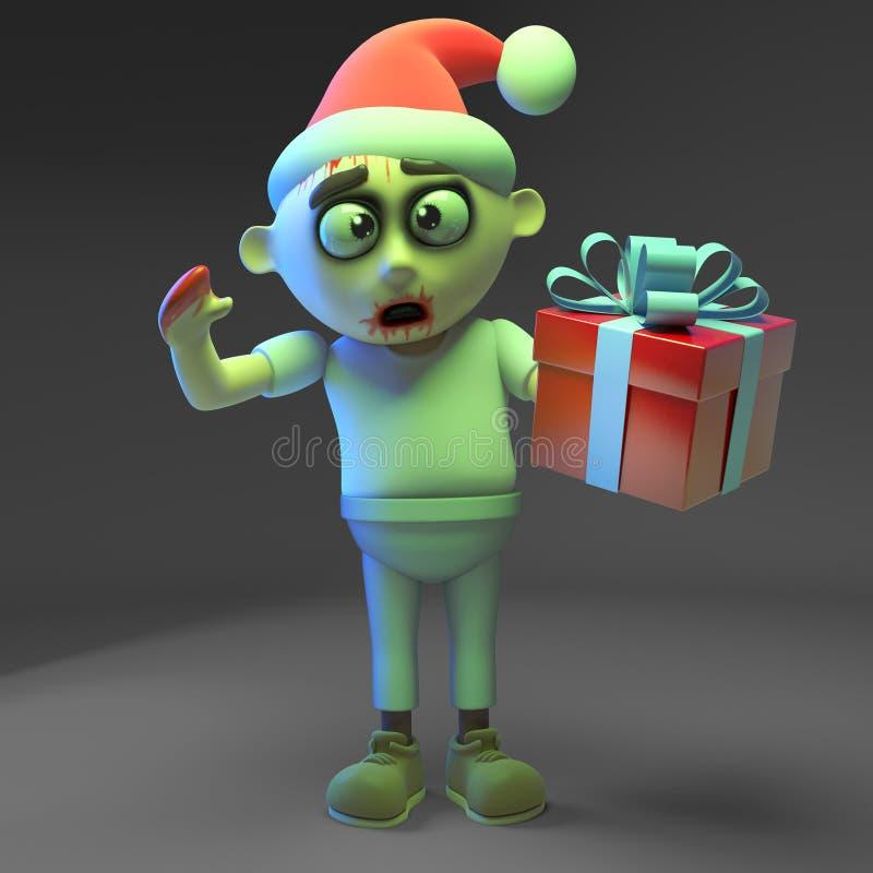 Saisonzombiemonster feiert Weihnachten mit Sankt-Hut und Geschenk, Illustration 3d stock abbildung