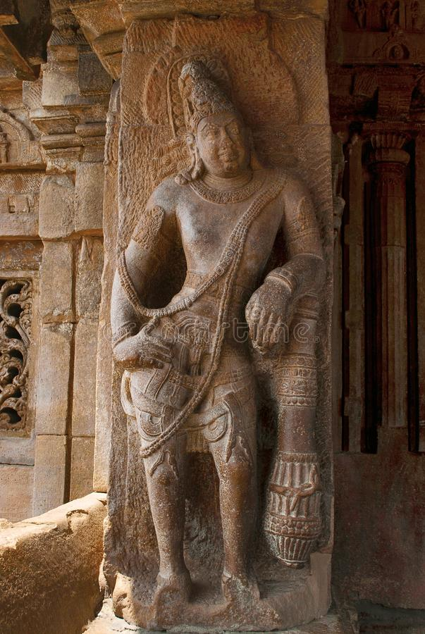 Saiva-dvara-pala on the left side pillar, Eastern entrance, Virupaksha Temple, Pattadakal temple complex, Pattadakal, Karnataka. India stock images