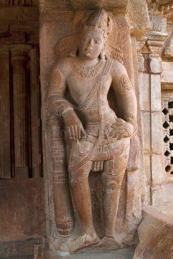 Saiva-dvara-pala on the right side pillar, Eastern entrance, Virupaksha Temple, Pattadakal temple complex, Pattadakal, Karnataka. India stock image