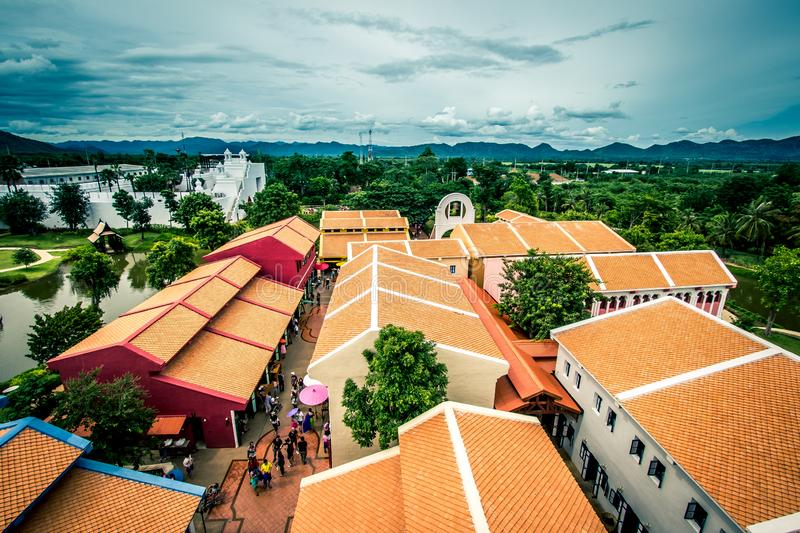 Saiyok district,Kanchanaburi province,Thailand on July 9,2017:Views from City Tower of Mallika City,1905 A.D.City of culture and. Mallika City,1905 A.D.City of stock images