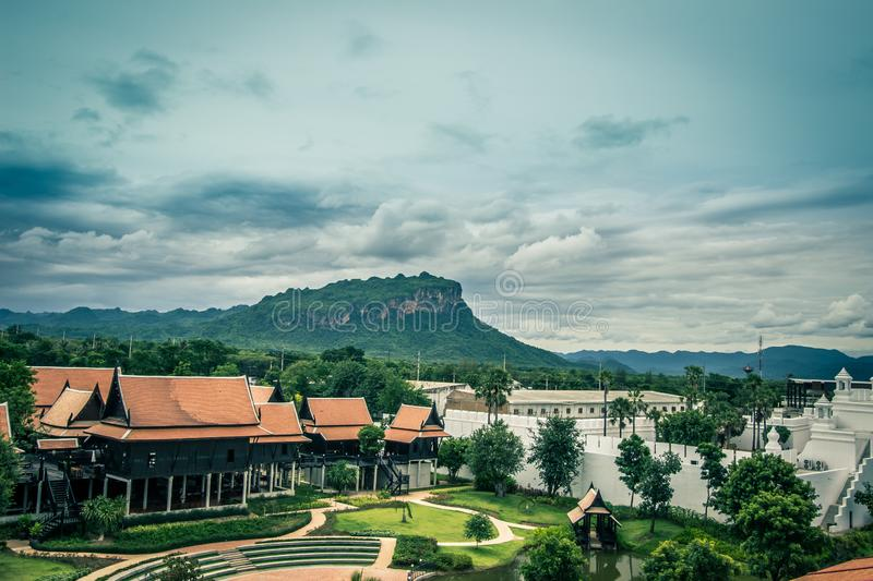 Saiyok district,Kanchanaburi province,Thailand on July 9,2017:Views from City Tower of Mallika City,1905 A.D.City of culture and. Mallika City,1905 A.D.City of stock image