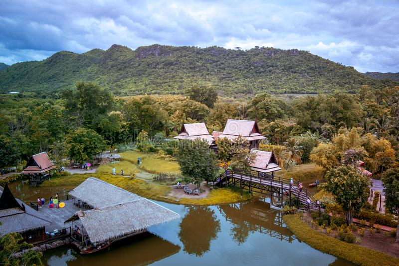 Saiyok district,Kanchanaburi province,Thailand on July 9,2017:Views from City Tower of Mallika City,1905 A.D.City of culture and. Mallika City,1905 A.D.City of stock photos