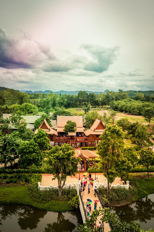Saiyok district,Kanchanaburi province,Thailand on July 9,2017:Views from City Tower of Mallika City,1905 A.D.City of culture and. Mallika City,1905 A.D.City of stock photo
