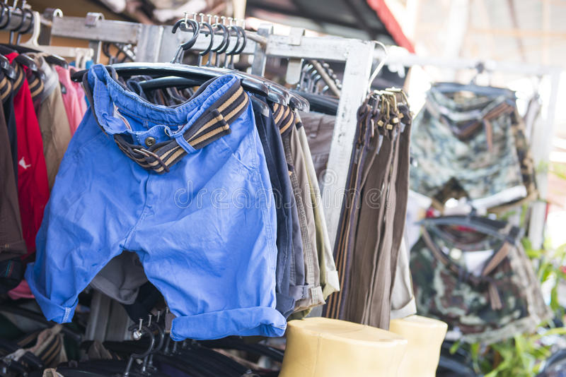 SAKAEO, THAILAND - MAY 21, 2016 : Men's Fashion in shop for sale royalty free stock photos