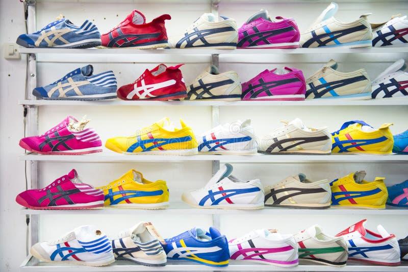 SAKAEO, THAILAND - MAY 21, 2016 : various sneaker in shop at Ron stock image
