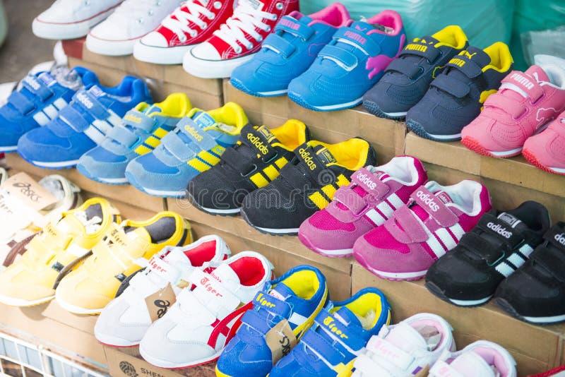 SAKAEO, THAILAND - MAY 21, 2016 : various sneaker in shop at Ron stock photo