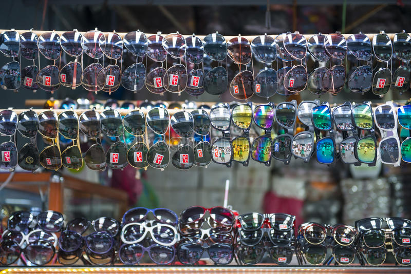 SAKAEO, THAILAND - MAY 21, 2016 : various sunglasses in shop for stock photo