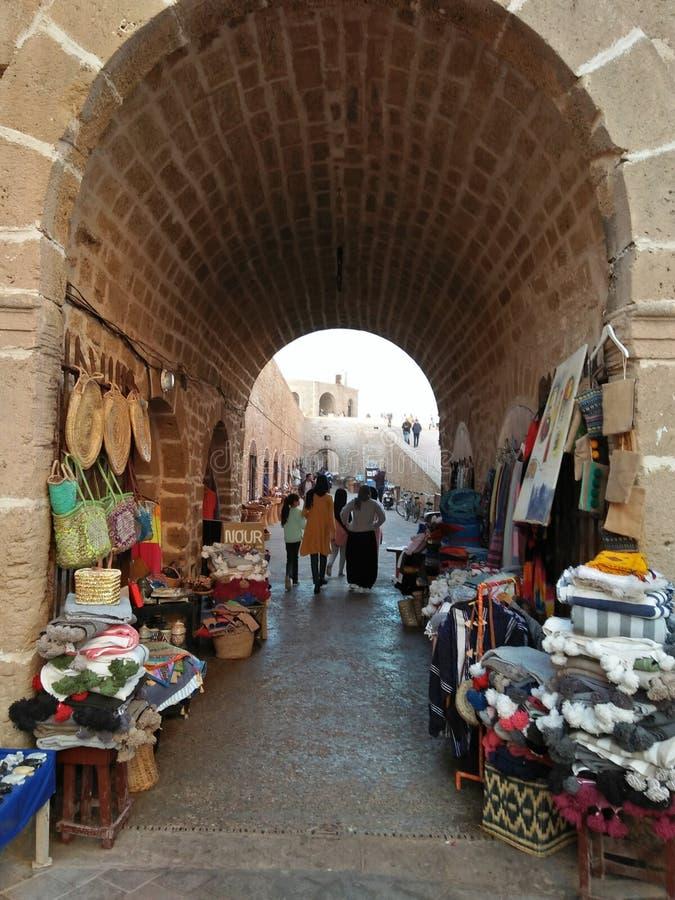 Sakala castl w essaouira mieście w Maroko i miejsce zdjęcie stock