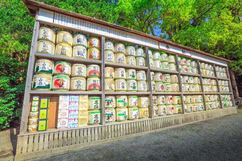 Sake barrels background. Kamakura, Japan - April 23, 2017: Japanese sake rice wine barrels with decorative writing in Tsurugaoka Hachiman, the most important stock photo