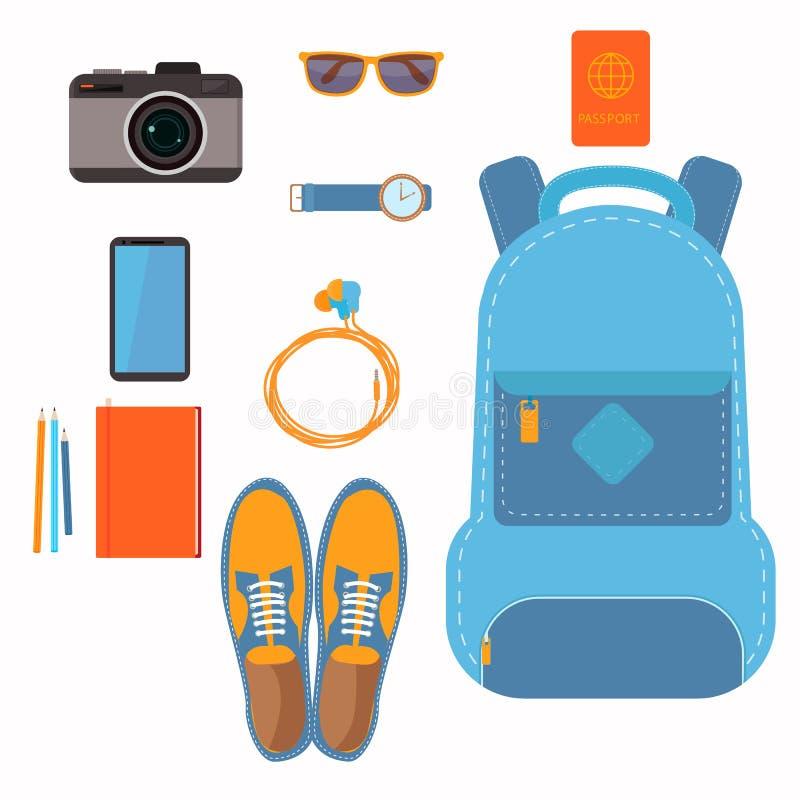 Saker som folktagandet med dem på en turryggsäck skor passkameran och mer royaltyfri illustrationer
