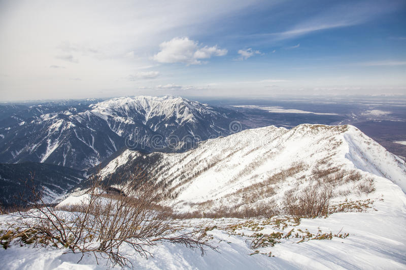 Sakhalin mountains and winter. Sakhalin ice mountains and winter royalty free stock photography
