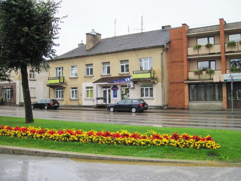 Sakiai town, Lithuania. Sakiai town in rainy day, Lithuania royalty free stock image
