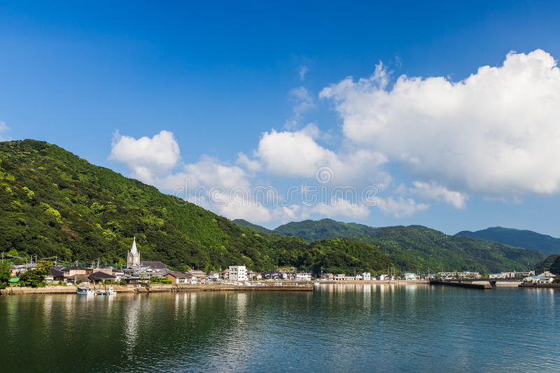 Sakitsu教会和蓝天在Amakusa,九州 库存照片