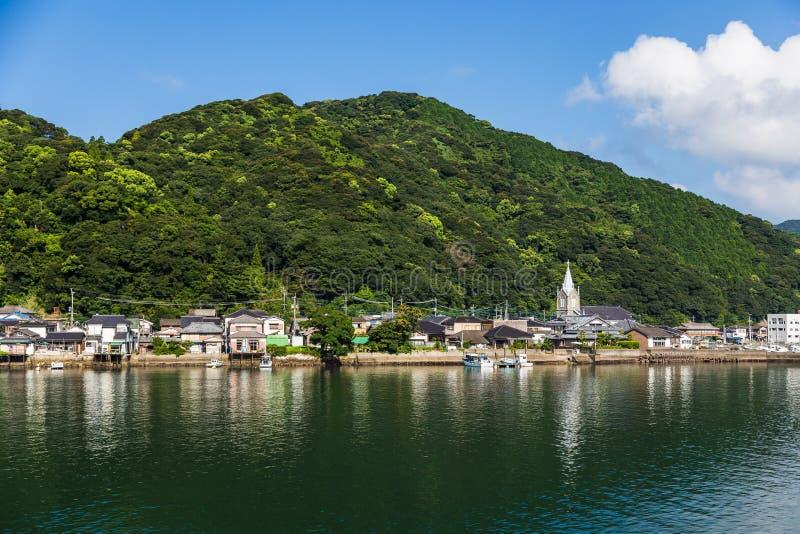 Sakitsu教会和蓝天在Amakusa,九州 免版税图库摄影