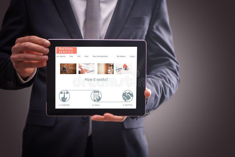 Sakkunnig webbplats för gods på minnestavlan royaltyfria bilder