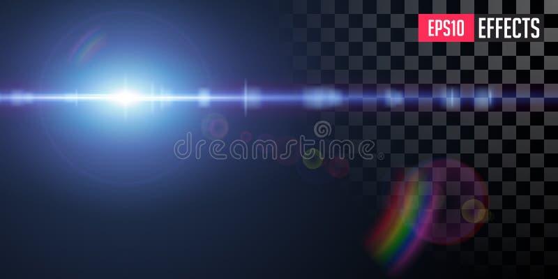 Sakkunniga Lens f?r den bl?a stj?rnan f?r science fictionen f?r vektorn blossar den genomskinliga ljus effekt royaltyfri bild