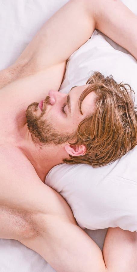 Sakkunniga spetsar p? att sova som ?r b?ttre Sk?ggig man som sover framsidan som kopplar av p? kudden Hur mycket s?mn dig faktisk fotografering för bildbyråer