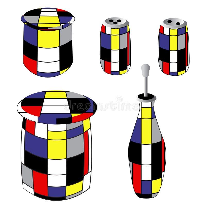 Sakkunnigflaskor och cans i tappningstil: olivolja socker, sädesslag, saltar och pepprar illustrationen på en vanlig vit stock illustrationer