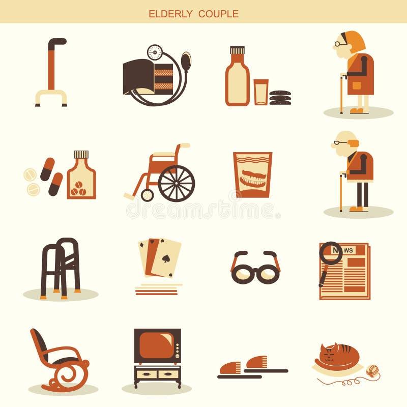 Sakkunnigobjekt och utrustningar för pensionärliv stock illustrationer