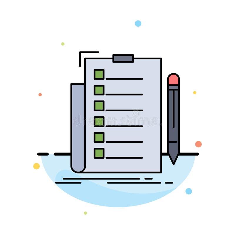 sakkunskap kontrollista, kontroll, lista, för färgsymbol för dokument plan vektor royaltyfri illustrationer