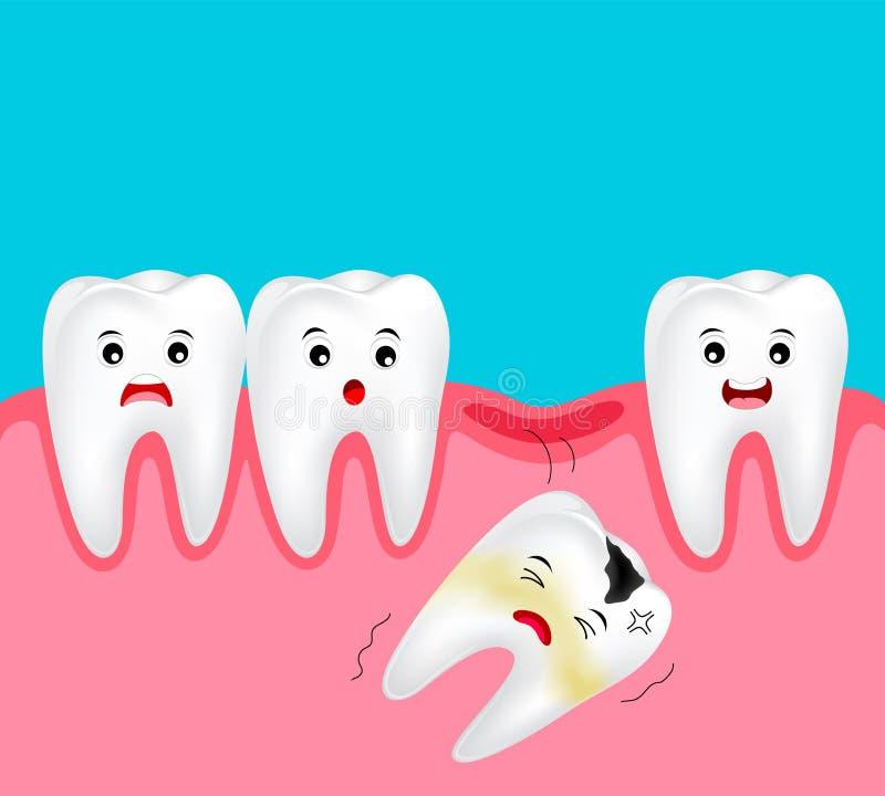 Saknad tand för gullig tecknad film Tand- tecknad filmtecken royaltyfri illustrationer