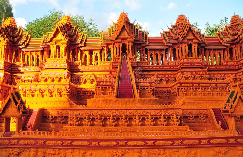 Wax Castle Festival is held annually at the end of the Buddhist Lent. The event are. Sakon nakhon ,Thailand – October 23,2018 : Wax Castle Festival is stock photo