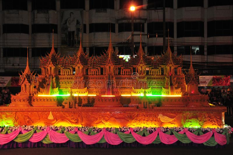 Wax Castle Festival is held annually at the end of the Buddhist Lent. The event are. Sakon nakhon ,Thailand – October 23,2018 : Wax Castle Festival is royalty free stock image