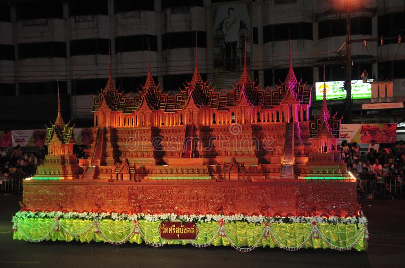 Wax Castle Festival is held annually at the end of the Buddhist Lent. The event are. Sakon nakhon ,Thailand – October 23,2018 : Wax Castle Festival is royalty free stock photo