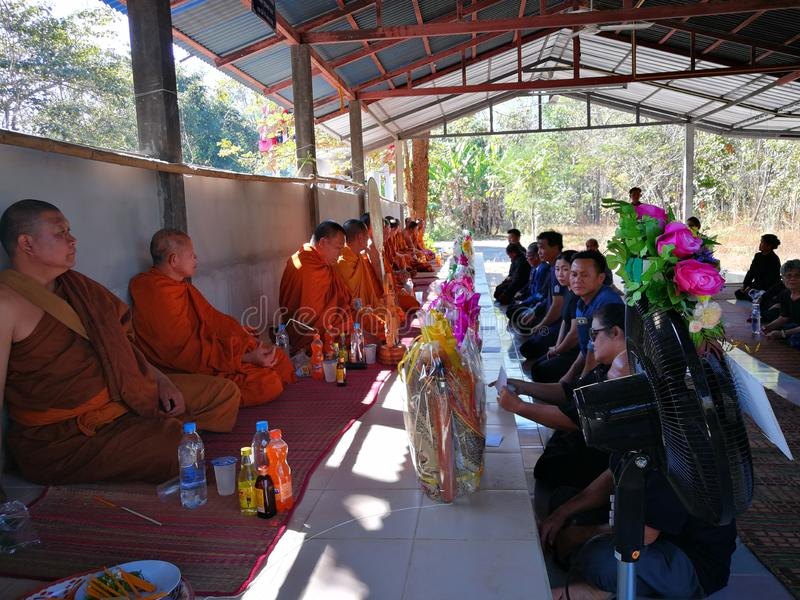 Sakon Nakhon Thailand March 2019 Buddhist rituals related to funeral deaths in rural Thailand. Sakon Nakhon Thailand March 2019 Buddhist rituals related to stock photo