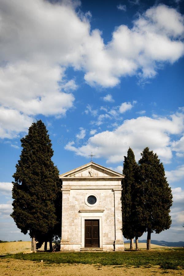 Sakral byggnad, Madonna di Vitaleta royaltyfria bilder