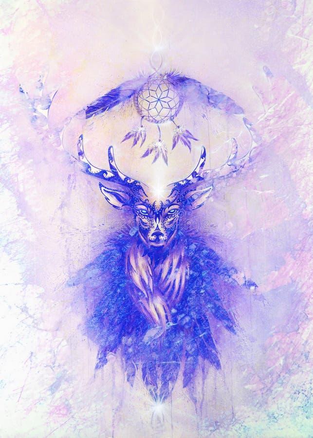 Sakral dekorativ hjortande med dröm- stopparesymbol och fjädrar Marmor verkställer stock illustrationer